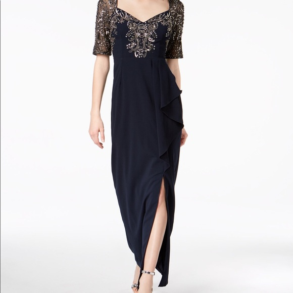 Adrianna Papell Dresses   Adriana Pappell Midnight Blue Gown   Poshmark
